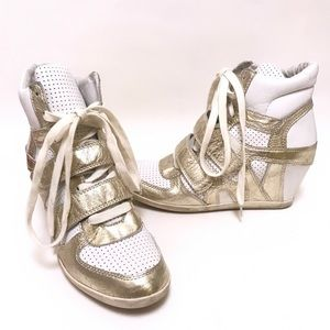 Ash Sneaker Wedges White & Gold Size 9
